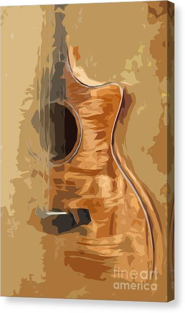Acoustic Guitar Brown Background 1 Canvas Print by Drawspots Illustrations