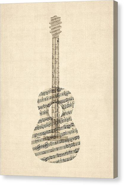 Acoustic Guitars Canvas Print - Acoustic Guitar Old Sheet Music by Michael Tompsett