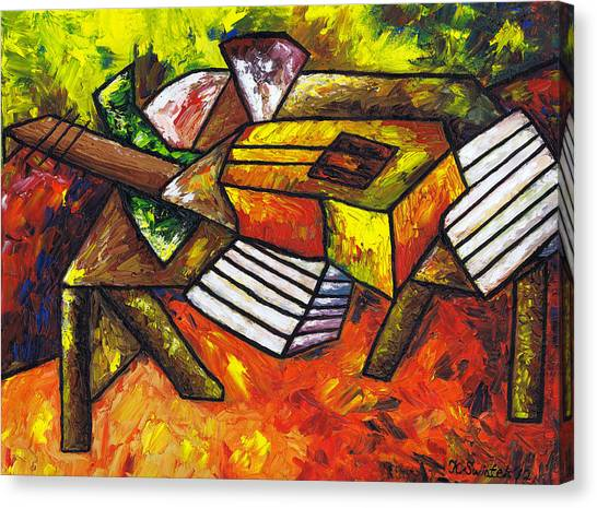 Classical Guitars Canvas Print - Acoustic Guitar On Artist's Table by Kamil Swiatek