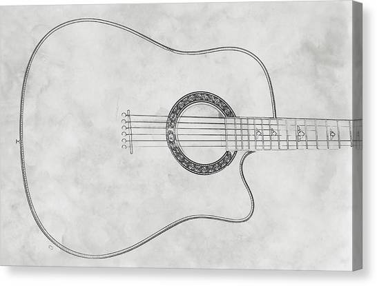 Acoustic Guitar On White Sketch Canvas Print by Randy Steele