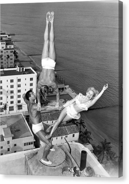 Acrobatic Canvas Print - Acrobatic Trio by Underwood Archives