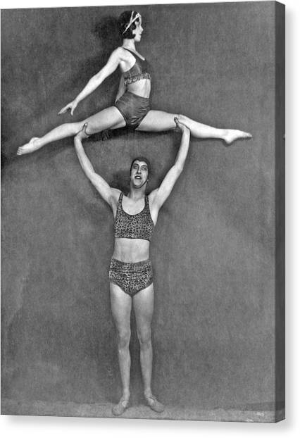 Acrobatic Canvas Print - Acrobatic Vaudeville Couple by Underwood Archives
