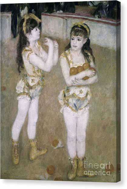 Acrobatic Canvas Print - Acrobats At The Cirque Fernand by Pierre Auguste Renoir