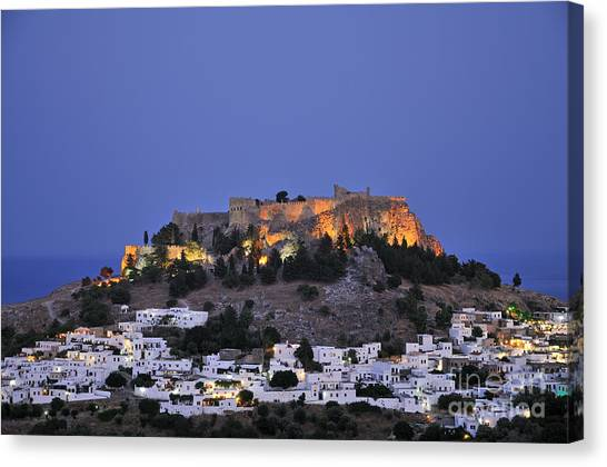 Acropolis And Village Of Lindos During Dusk Time Canvas Print