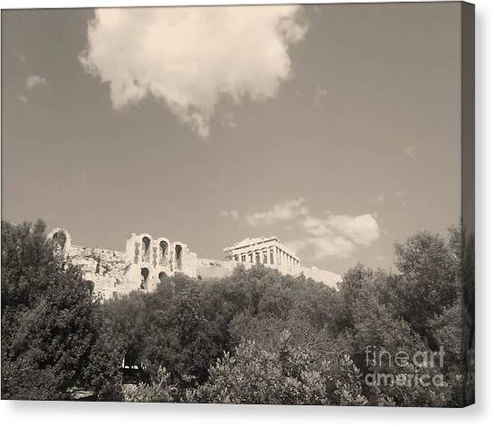 Acropolis In Black Canvas Print by Katerina Kostaki
