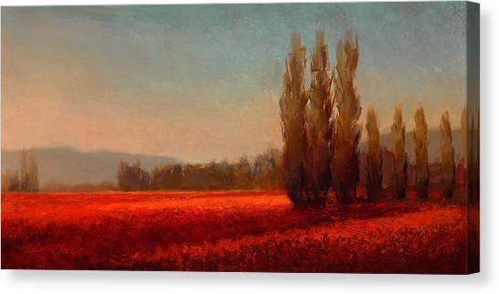 Orange Tree Canvas Print - Across The Tulip Field - Horizontal Landscape by Karen Whitworth