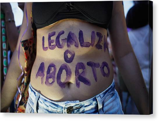 Activists In Brazil March For Women's Rights On International Women's Day Canvas Print by Mario Tama
