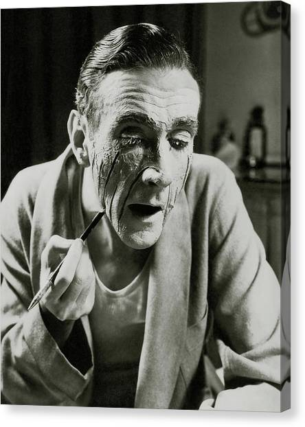Actor Clifton Webb Applying Make-up Canvas Print by Lusha Nelson