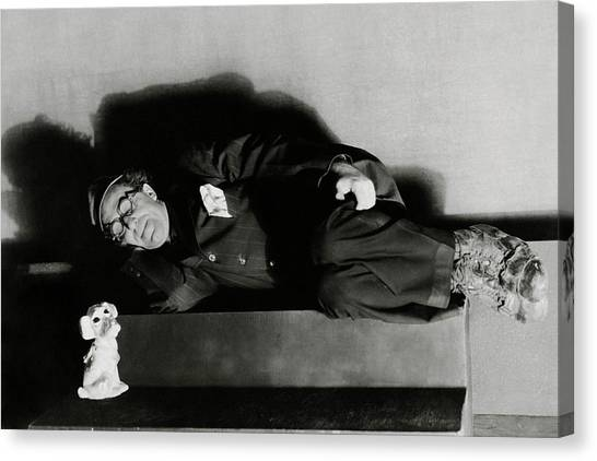 Actor Ed Wynn Lying Down On A Bench In 'the Laugh Canvas Print by Florence Vandamm