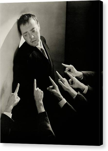 Actor Peter Lorre Posing Against A Wall Canvas Print by Lusha Nelson