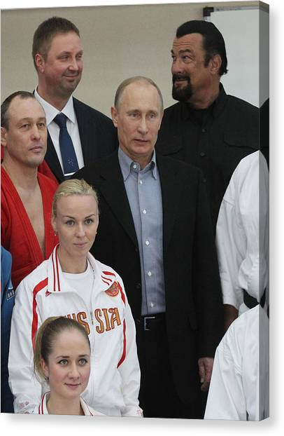 Actor Steven Seagal Visits Russia On The Invite Of Vladimir Putin Canvas Print by Sasha Mordovets