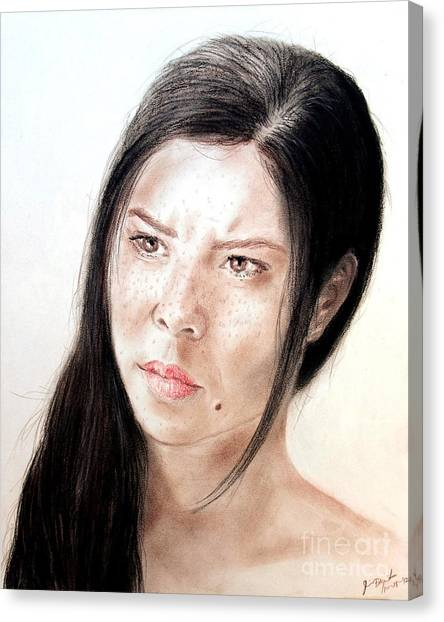 Lucy Liu Canvas Print - Actress And Beauty Jeananne Goossen by Jim Fitzpatrick