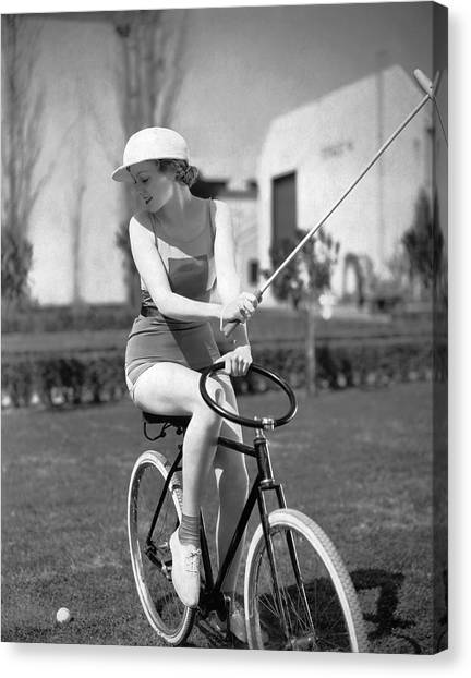 Polo Canvas Print - Actress Plays Bike Polo by Underwood Archives