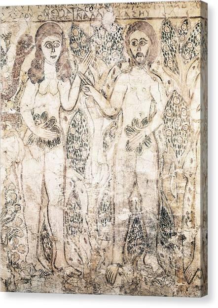 Coptic Art Canvas Print - Adam And Eve. 10th C. Coptic Art by Everett