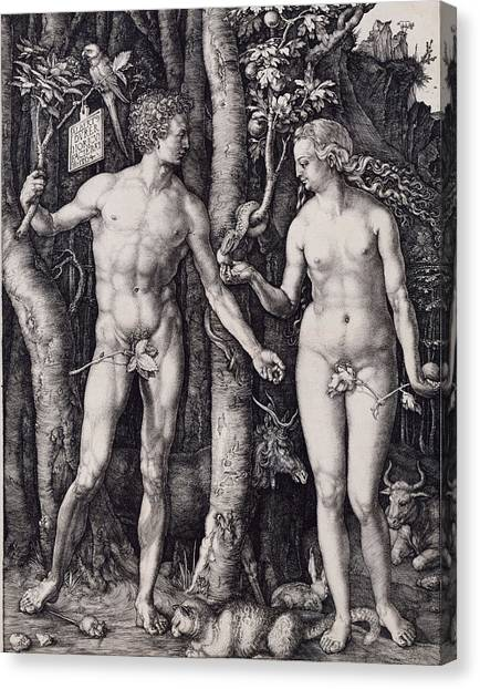 Adam And Eve Engraving Canvas Print by Albrecht Durer