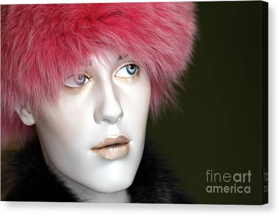 Green Berets Canvas Print - Adele's Pink Fur Hat by Sophie Vigneault