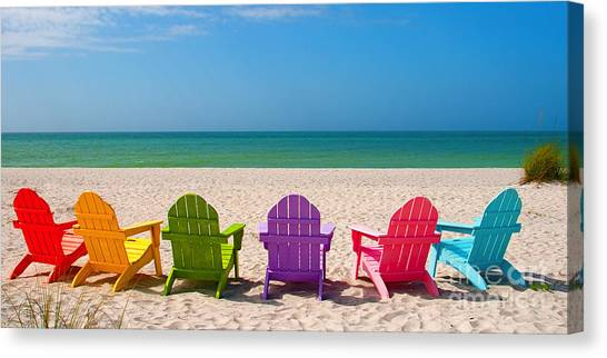 Beach Resort Canvas Print - Adirondack Beach Chairs For A Summer Vacation In The Shell Sand  by ELITE IMAGE photography By Chad McDermott