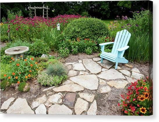 Lilac Bush Canvas Print - Adirondack Chair, Birdbath by Panoramic Images