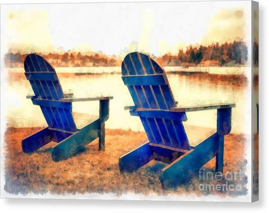Adirondack Chair Canvas Print - Adirondack Chairs By The Lake by Edward Fielding
