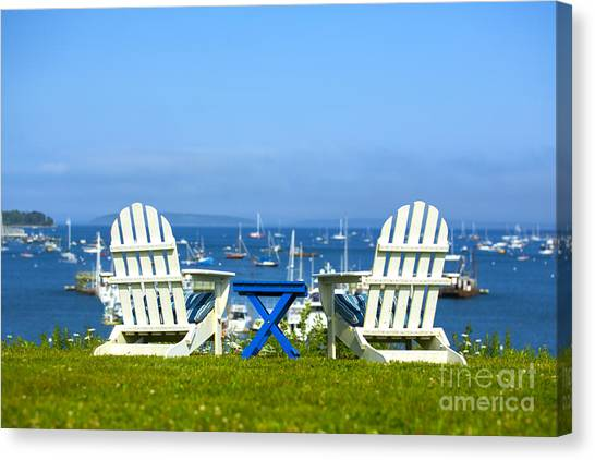 Adirondack Chair Canvas Print - Adirondack Chairs Overlooking The Ocean by Diane Diederich