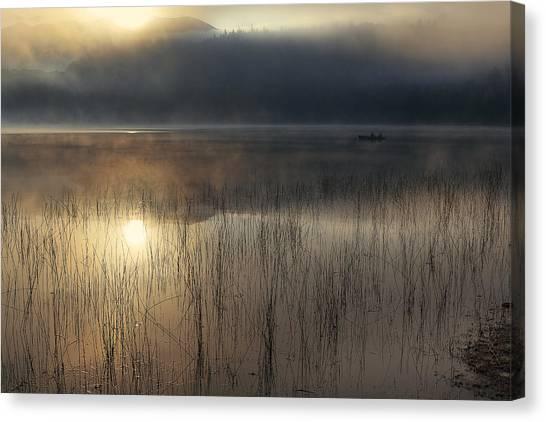 Lake Sunrises Canvas Print - Adirondack Sunrise by Magda  Bognar