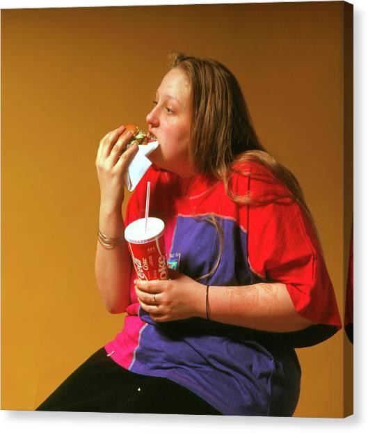 Hamburger Canvas Print - Adolescent Girl Eating Hamburger & Drinking Coke by Cc Studio/science Photo Library