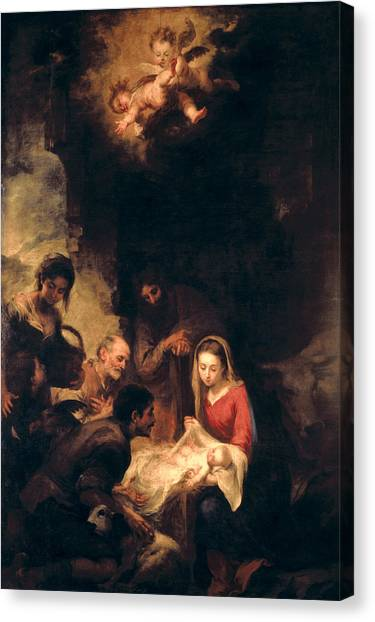 Baroque Art Canvas Print - Adoration Of The Shepherds by Bartolome Esteban Murillo