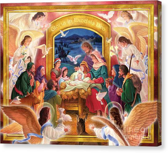 Adoring Angels Nativity Canvas Print