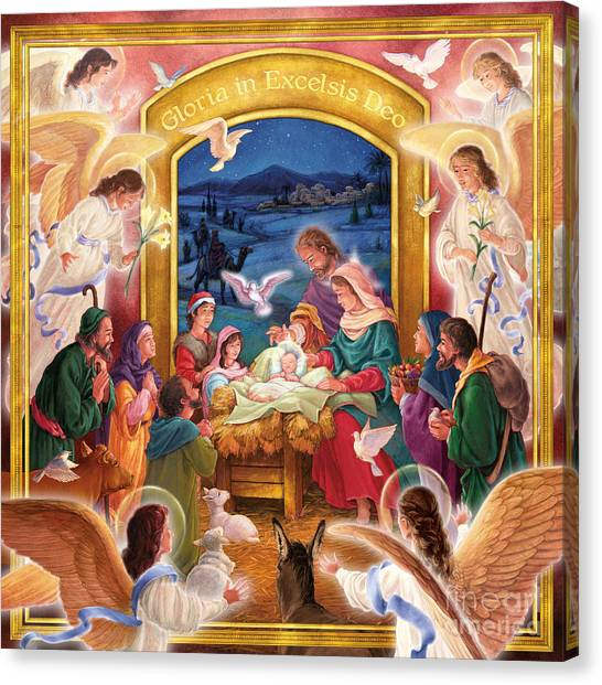 Adoring Angels Nativity Square Canvas Print