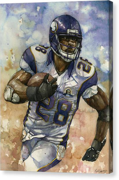 Barry Sanders Canvas Print - Adrian Peterson by Michael  Pattison