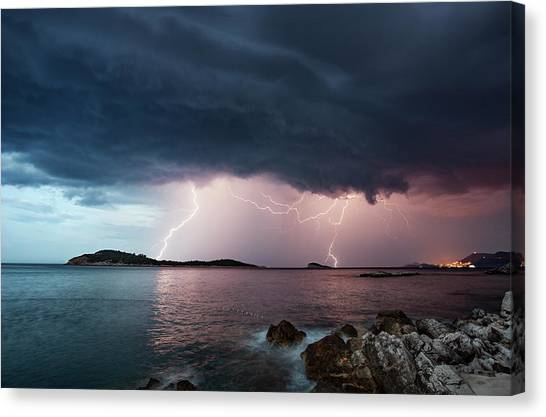 Adriatic Lightning Canvas Print by Image By Chris Winsor
