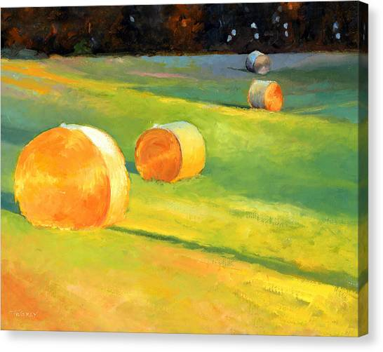 Hay Bales Canvas Print - Advance Mills Hall Bales by Catherine Twomey