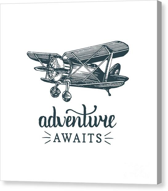 Adventure Awaits Motivational Quote Canvas Print by Vlada Young
