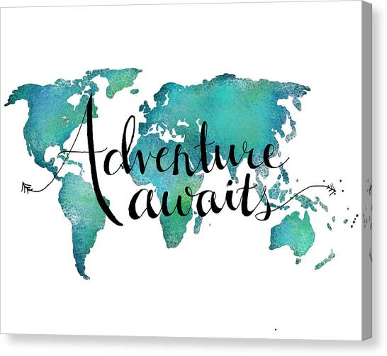 World Map Canvas Print - Adventure Awaits - Travel Quote On World Map by Michelle Eshleman
