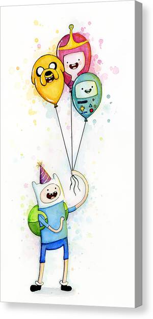 Balloons Canvas Print - Adventure Time Finn With Birthday Balloons Jake Princess Bubblegum Bmo by Olga Shvartsur