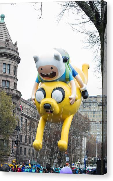 Macys Parade Canvas Print - Adventure Time With Finn And Jake Balloon By Cartoon Network At Macy's Thanksgiving Day Parade by David Oppenheimer