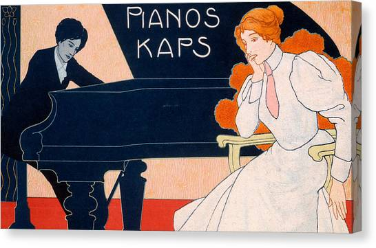 Pianos Canvas Print - Advertisement For Kaps Pianos by Hans Pfaff