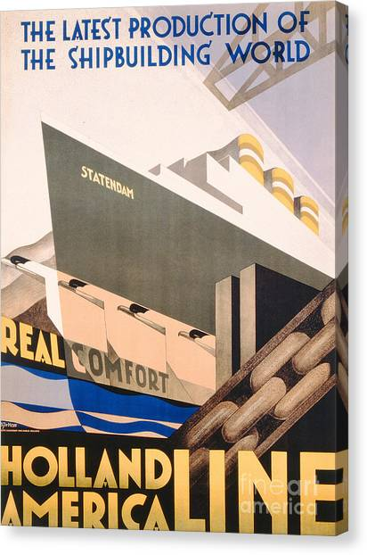 Cruise Ships Canvas Print - Advertisement For The Holland America Line by Hoff