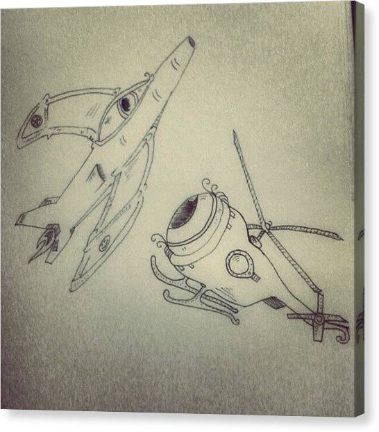 Helicopters Canvas Print - Aereodeyenamics. #drawing #dibujo by Gabriel Alfonso Aguilar
