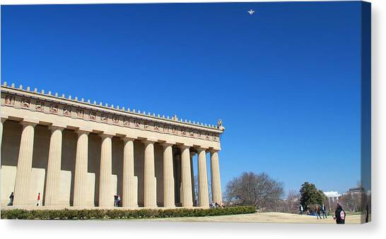 The Parthenon Canvas Print - Aerial Drone Uav At The Parthenon by Dan Sproul
