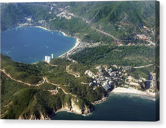 Ural Mountains Canvas Print - Aerial  Of Acapulco Bay Mexico From Both Sides by Jodi Jacobson