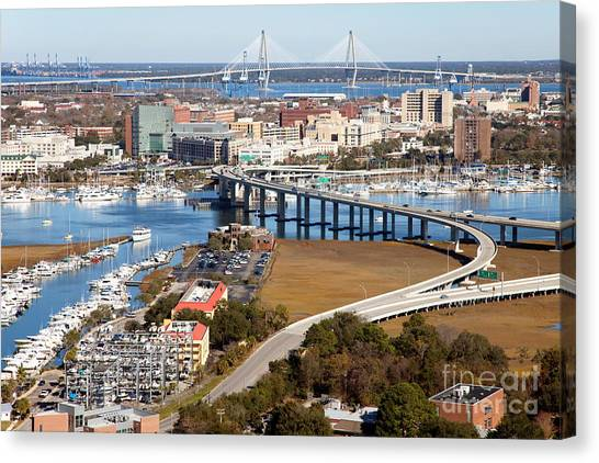 University Of South Carolina Canvas Print - Aerial Of Downtown Charleston by Bill Cobb