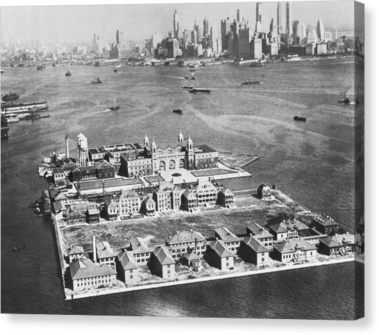 Immigration Canvas Print - Aerial Of Ellis Island by Underwood Archives