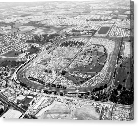 Indy 500 Canvas Print - Aerial Of Indy 500 by Underwood Archives