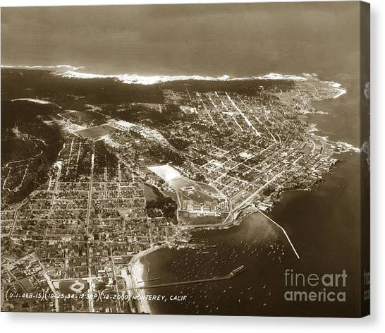 Aerial  Of Monterey Calif. Oct. 25 1934 Canvas Print