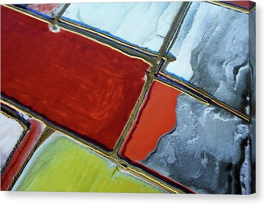 Southern Africa Canvas Print - Aerial Of Salt Pans by Johnny Haglund