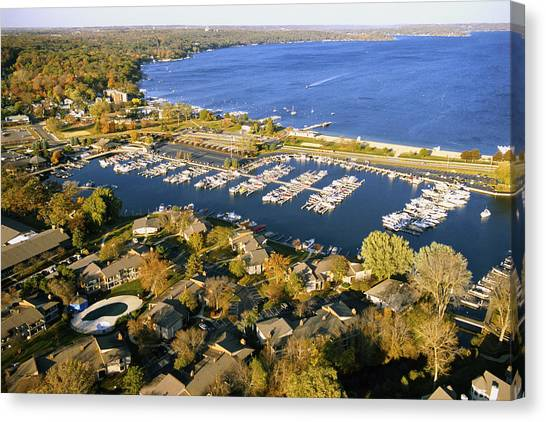 Aerial Of The Abbey Harbor - Fontana Wisconsin Canvas Print