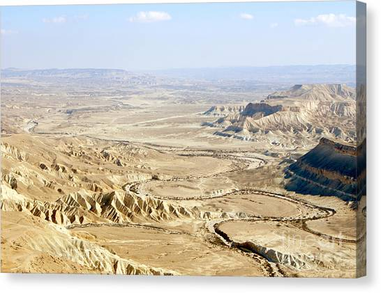 Negev Desert Canvas Print - Aerial Photography Of The Negev  by Nir Ben-Yosef