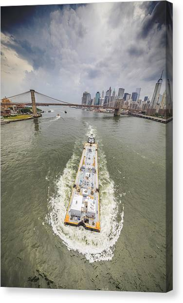 Aerial View - The Barge At The East River Canvas Print