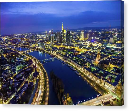 Aerial View. Germany, Frankfurt, River Canvas Print by Malorny